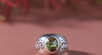 handmade jewellery online for sale - silver ring with stunning green stone